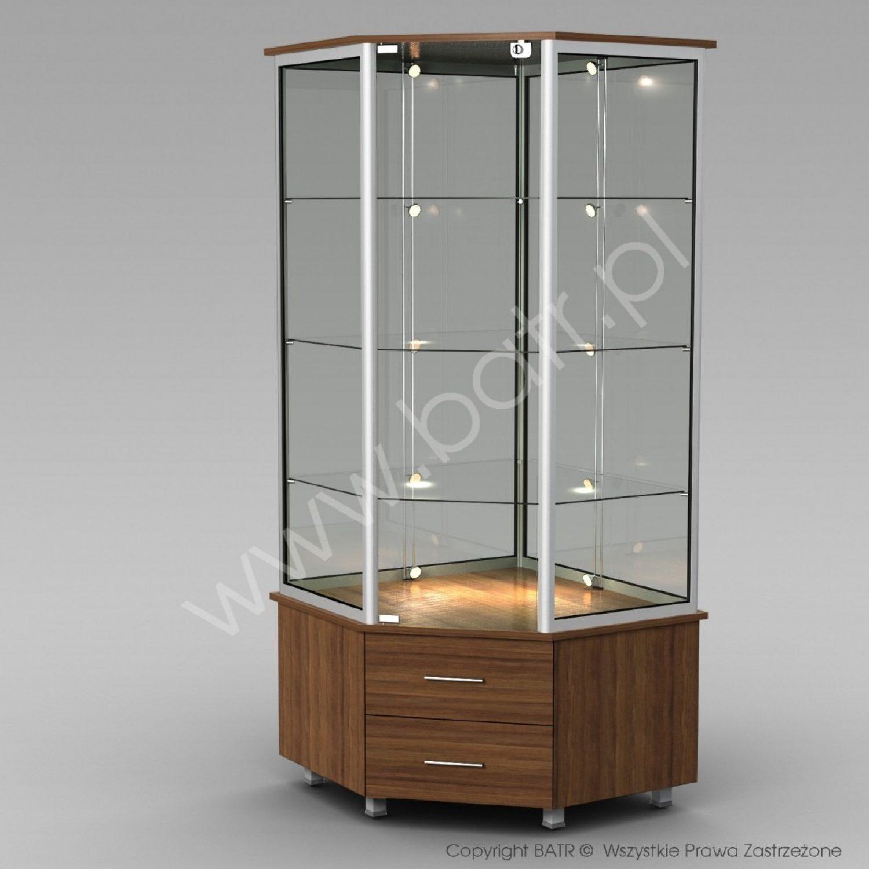 Witryna stojąca narożna z szufladami